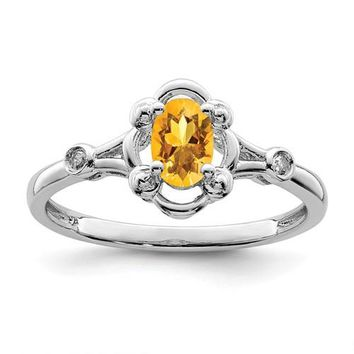 Sterling Silver Citrine Oval & Diamond Ring