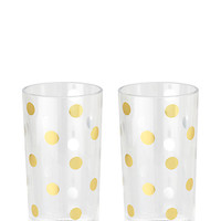 Kate Spade Raise A Glass Highball Glasses Gold/Dots ONE