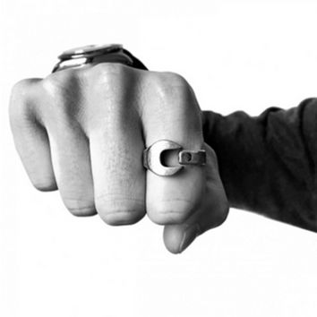 """""""ROUILLE"""" Personality Retro Open Ring Locomotive Industry Wrench Couple Little Finger Ring"""