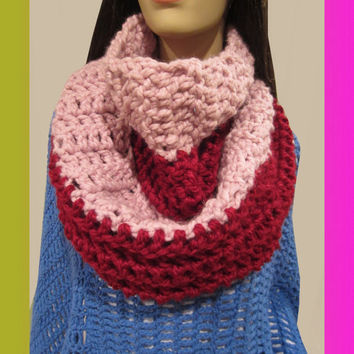 Cowl Neck Scarf - Chunky - Extra Long - Double Wrap - Funky Handmade Scarves - Handcrafted In Funky Pink & Red -Wool Blend