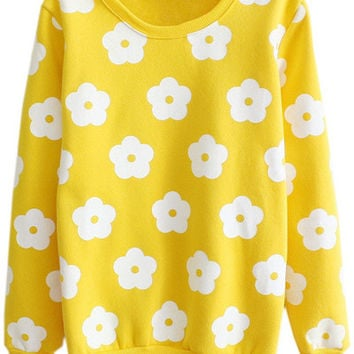 Yellow Floral Print Long Sleeve Sweater