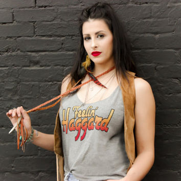 "Womens Music Lyric Tank Top  ""Feelin' Haggard"""