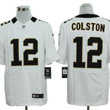PEAPNO Nike Saints #12 Marques Colston White Mens NFL Elite Jersey