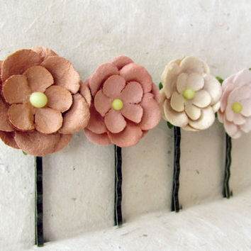 Blush Flower Hair Clips. Paper Flower Bobby Pins in Chocolate, Strawberry, Cream + Petal Pink. Daisy Hair Accessories. Rustic Wedding Hair.