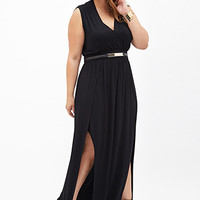 FOREVER 21 PLUS M-Slit Maxi Dress Black