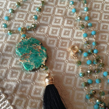 Green Blue Crystal Beaded Chain With Green Jasper Sea Sediment Stone and Gold Black Silk Tassel