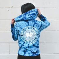 Turquoise Tie Dye V-Neck Hoodie