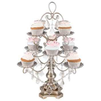 12-Piece Vintage Crystal-Draped Cupcake Stand (Silver)
