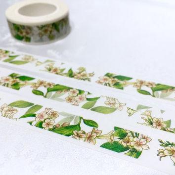 hand painted flower washi tape 10M flower garden masking sticker tape green leaf little flower blossom flower diary planner decor gift