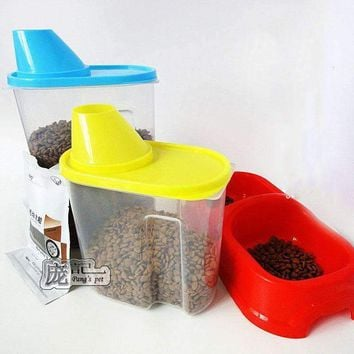 Plastic Pet Gog Feeder Food Storage Moisture Mildew Anti-oxidation Large Capacity Storage Fresh Box Food Container Dog Bucket
