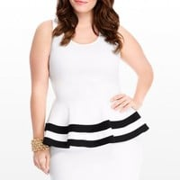 Plus Size Parker Double Stripe Peplum Dress | Fashion To Figure