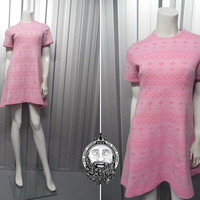 Vintage 60s Mod Shift Dress Baby Pink Mini A Line Dollybird Empire Line Micro Dress Twiggy Dress Short Sleeve Empire Line 1960s Mini Dress
