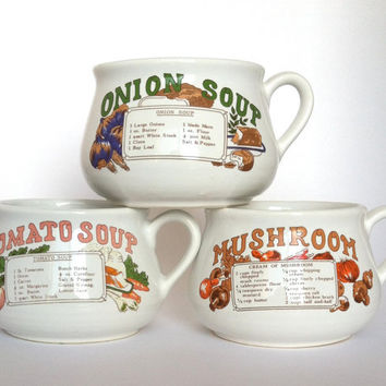 Vintage Soup Recipe Mugs Tomato Soup Cream of Mushroom Onion Soup Home Decor Collectibles Christmas In July
