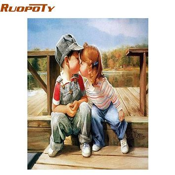 RUOPOTY Childhood DIY Painting By Numbers Wall Art Canvas Painting Kits Coloring Painting By Numbers Handpainted For Artwork