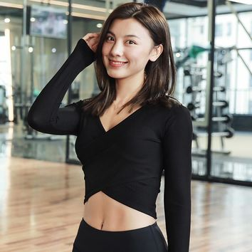 Sexy Bare Midriff Yoga Shirt Solid Ballet Top Slimming Workout Tee Long Sleeve Crop Tops T Shirt Women Sports Shirts Fitness