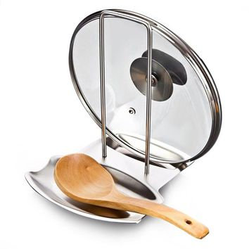 Stainless Steel Pan Pot Rack Cover Lid Rest Stand Spoon Holder Home Applicance The Goods For Kitchen Accessories