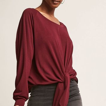 Self-Tie Raglan Top