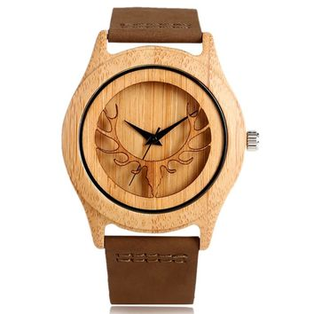 Bamboo Wooden Watch, Men Deer Head Genuine Leather Band Strap Nature Wood, Bamboo Wristwatch Bracelet