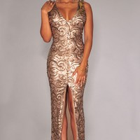 Gold Sequined Front Slit Padded Maxi Gown - OASAP.com
