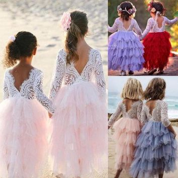 2018 Newest Princess Layered Dress Toddler Kids Baby Girls Lace Long Dress Party Prom Wedding Bridesmaid Party Pageant Dresses