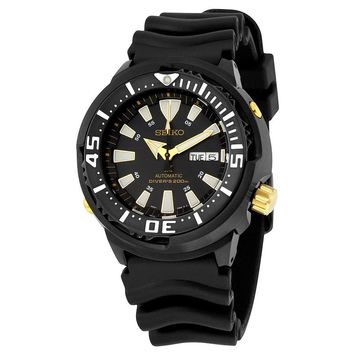Seiko Prospex Automatic Black Dial Black Rubber Mens Sports Watch SRP641