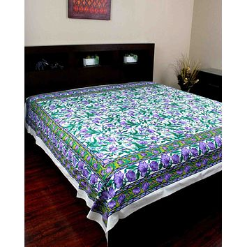 Handmade 100% Cotton Floral Print Tapestry Tablecloth Coverlet Bedspread Full