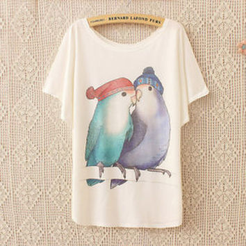 Women's Korean Parrot Printed Loose Batwing Short Sleeve Cotton T-Shirt TeeTops
