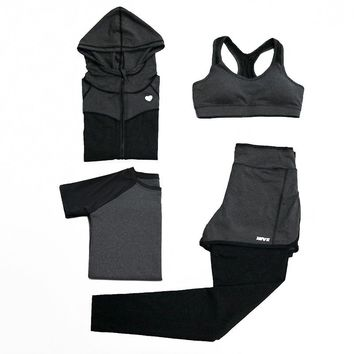 Women's Autumn Yoga Suits Sport Outdoor Exercise Jogging Running Suits Quick Dry Training Tracksuits 4pcs/set