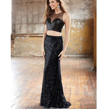 Black Sequin Two Piece Sheer Sweetheart Crop Top & Long Skirt