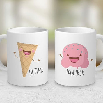 Ice Cream - Set of 2 - Couple Gift - Coffee Mugs - Tea - Love - Cute Mugs - Summer - Cone - Pink - Funny Mug - Gift
