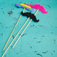 Custom Perler Bead Mustache On A Stick - Photo Booth Prop