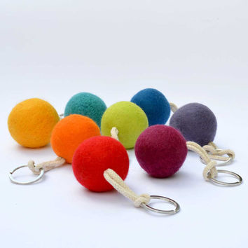 Provence lavender bag charm - Wool felt Handbag Pomander filled with dried lavender.  Mini stress ball.