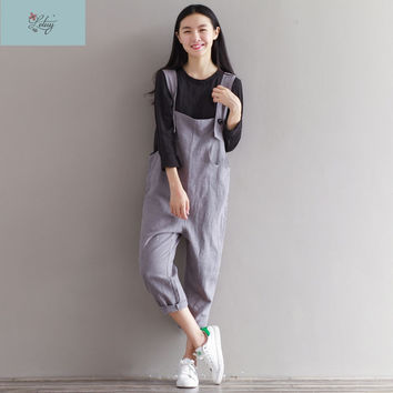 8996# Summer Women's Jumpsuits Vintage Rompers Plus Size Salopette Bib Short Brushed Casual Cotton Linen Pants Overalls 2016