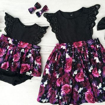 Sister Matching Black and Purple Floral Outfit