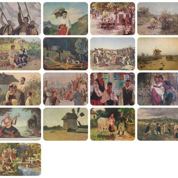 Ukrainian Painting, Ukrainian Genre Scenes and Landscapes. Set of 17 Vintage Prints, Postcards in original cover -- 1950s-1980s