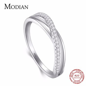 Modian 2018 High Quality Real 925 Sterling Silver Elegant Line Rings Fashion Simple Zirconia Jewelry For Women Wedding Ring Anel
