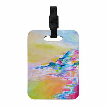 "Ebi Emporium ""Something About the Sea"" Yellow Multicolor Decorative Luggage Tag"