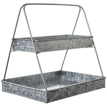 Threshold™ Two Tiered Plant Stand - Galvanized Finish 12x16x14h""