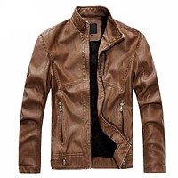 Men Windproof Leather Jacket Coats