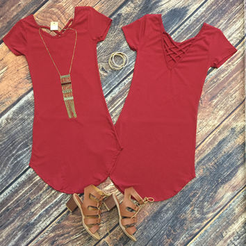 Bright Sunshine-y Day Tunic Dress: Burgundy