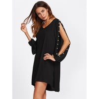 Cut Out Sleeve Faux Pearl Detail Dress