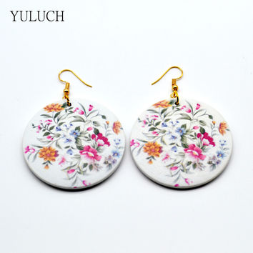 Pair  new design good african wood print flower earrings Latest new arrival  Round new design quality