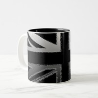 Black and Silver Grey Union jack Flag Two-Tone Coffee Mug