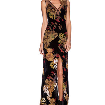 Mesh Accent Floral Print V-neck Sleeveless Sheath Maxi Slit Dress