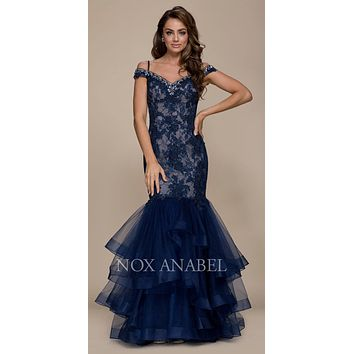 Cold Shoulder Tiered Mermaid Long Prom Dress Navy Blue