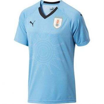 KUYOU Uruguay 2018 World Cup Home Men Soccer Jersey Personalized Name and Number