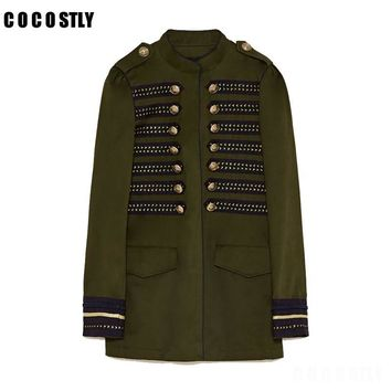 Trendy High Quality 2018 Jacket Woman Military Style Jacket Mandarin collar long sleeves Double Breasted Jacket Front snap buttons AT_94_13
