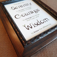 The Serenity Prayer - 4x6 Framed Print - Ornate Brown Frame - Christian Art, AA Inspiration