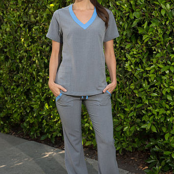 Blue and Gray Nursing Uniform Medical Scrubs Dental Hygienist Pant