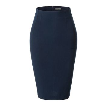 LE3NO Womens Fitted High Waisted Pencil Office Midi Skirt with Stretch